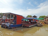 Boats to explore the floating village of Kompong Phluk on the Tonle Sap Lake in the Siem Reap Province of Cambodia