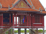 Decorative building (temple?) in a stilted village on Tonle Sap Lake in the Siem Reap Province of Cambodia