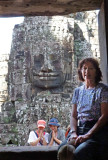 Judy and two Cambodian girls at the Bayon Temple in Angkor Thom, Siem Reap Province, Cambodia