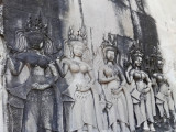 Bas-relief of devatas (guardian spirits) of Angkor Wat - Siem Reap Province, Cambodia