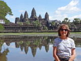 Judy near a reflecting pool on the grounds of Angkor Wat - Angkor, Siem Reap Province, Cambodia