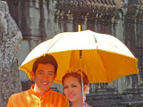 A Cambodian couple getting married at Angkor Wat - Siem Reap Province, Cambodia