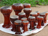 Attractive hand-made souvenir drums for sale - on our way to Preah Khan, Angkor, Siem Reap Province, Cambodia