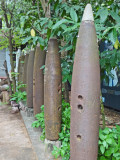 Housings of unexploded mortar at the Cambodian Landmine Museum Relief Facility (CLMMRF) - Angkor, Siem Reap Province, Cambodia