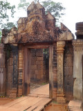 A finely detailed decorative entrance - Banteay Srei Temple - Angkor, Siem Reap Province, Cambodia