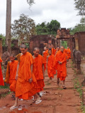 Monks leaving the Banteay Srei Temple - Angkor, Siem Reap Province, Cambodia