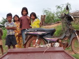 Children greeting us at the dock - we were going by boat on Tonle Sap Lake to the Prek Toal bird sanctuary - Siem Reap Province