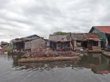 Houses in a floating village on Tonle Sap Lake - Siem Reap Province, Cambodia