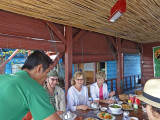 Janet, Stacy and Alan - lunch at a floating restaurant - Tonle Sap Lake, Siem Reap Province, Cambodia