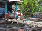 A fish farm at a floating house in the floating village of Tonle Sap Lake, Siem Reap Province, Cambodia
