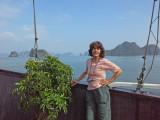 Judy aboard the Treasure Junk in Ha Long Bay, Vietnam