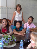 Judy at our first meeting with some of our sponsored young ladies (college students) near Sitha's office - Phnom Penh, Cambodia