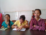 Our first meeting with some of our sponsored young ladies (college students) near Sitha's office - Phnom Penh, Cambodia