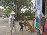 Helen was startled when a crocodile snared her clothing. Stan rescued her by holding the croc's tail - Siem Reap, Cambodia