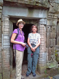 Judy and Sally at the Ta Prohm Temple - in Angkor, Siem Reap Province, Cambodia