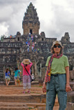 Judy approaching the Bakong Temple in Angkor, Siem Reap Province, Cambodia