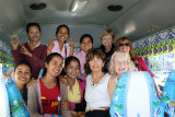 Judy, Fran, Janet, Helen & Sitha with some of our sponsored young ladies (college students) - on our bus - Phnom Penh, Cambodia