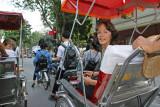 Judy returning to the Aranya Hotel via rickshaw - Hanoi, Vietnam