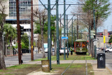 Trolley on St. Charles Avenue in New Orleans - used by us to get to the French Quarter from our hotel, the Clarion