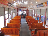 Inside a trolley on St. Charles Avenue in New Orleans