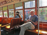 Elliott on a trolley on St. Charles Avenue in New Orleans - going to the French Quarter from our hotel, the Clarion