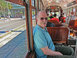 Ken on a trolley on St. Charles Avenue in New Orleans - going to the French Quarter from our hotel, the Clarion