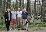 Richard, Ken, Jerry and Elliott on a dirt back road next to a swamp in southwestern Louisiana