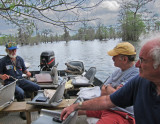 Norbert our guide, Ken and Elliott on Lake Martin. Norbert has been hunting alligators for decades - gator head is in the boat.