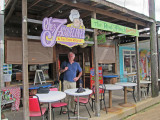Elliott leaving Chez Jacqueline's (French and Cajun cuisine) after a satisfying meal - Breaux Bridge in southwestern Louisiana