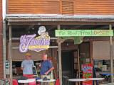 Ken and Elliott in front of Chez Jacqueline's (French and Cajun cuisine) in downtown Breaux Bridge in southwestern Louisiana