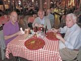 Elliott and Jerry eating crawfish (Ken is to the left) at Pont Breaux's Cajun Restaurant in Breaux Bridge