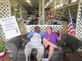 Ken schmoozing with the owner  Mr. D. after we ate lunch at his Old Country Store Restaurant in Lorman, southern Mississippi