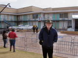 Richard in front of the Lorraine Motel which is part of the National Civil Rights Museum at the Lorraine Motel in Memphis