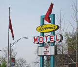 Original street sign for the Lorraine Motel where Martin Luther King Jr. was assassinated  in Memphis, Tennessee