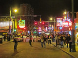 Police cars and barricades (to keep everyone cool-headed) on Beale Street in Memphis, Tennessee on Saturday night