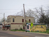A small structure with a mural of a piano - across the street from the Stax Museum of American Soul Music