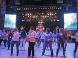 Line dancing while Holland Marie was singing on stage in the background at the Wildhorse Saloon in Nashville, Tennessee