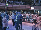 Elliott and Ken at a table (middle right) watching line dancing at the Wildhorse Saloon in downtown Nashville, Tennessee