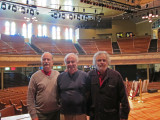Elliott, Ken and Richard on the stage of the Ryman Auditorium in downtown Nashville, Tennessee