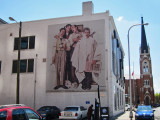 Mural on the outside wall of the headquarters of the Barbershop Harmony Society in downtown Nashville, Tennessee