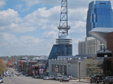Broadway with the Bridgestone Arena on the right in downtown Nashivlle, Tennessee