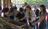 Judy and others engaging in ceremonial purification and cleansing at a temizuya before entering the main shrine at Meiji.