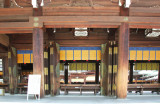 Close-up of the Offering Hall (haiden) - the place for worship at the Meiji Shrine