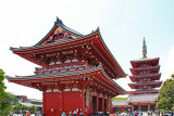 The Hozomon Gate (left) and the Five Story Pagoda (right) in the Senso-ji  Temple complex - Tokyo