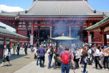 Judy next to the incense burner in front of the Main Hall of the Senso-ji Temple - Tokyo