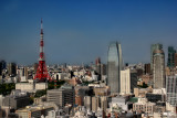 Close-up of the Tokyo Tower (left)  and the Shiodome skyline - as seen from the Park Hotel lobby
