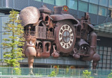 Close-up of the Studio Ghibli Clock on the Nippon Television Building - seen from the middle level walkway near the Park Hotel