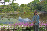 Judy in front of irises in the East Garden of the Imperial Palace - Tokyo