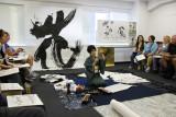 The studio of acclaimed calligraphy artist Masunaga Koshun seen here - in the Ginza District, Tokyo