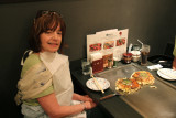 Judy at lunch - a Modanyaki pancake with noodles - Tokyo